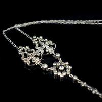 Antique Old Cut Blue Paste Drop Sterling Silver Pendant Necklace (8 of 12)