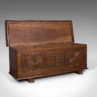 Large Antique Coffer, Italian, Walnut, Sword Chest, Linen Trunk, 18th Century (8 of 12)