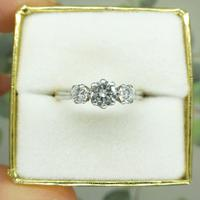 Vintage Art Deco 18ct Platinum Diamond Trilogy Engagement Ring 0.70ct c.1930 (9 of 9)