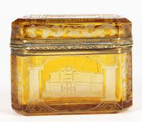Bohemian Antique Engraved Metal Mounted Overlay Yellow Glass Sugar Casket 19th Century (19 of 19)