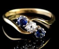 Vintage Art Deco Sapphire & Diamond Trilogy Ring (6 of 10)