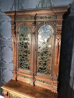 Victorian Carved Oak Secretaire Bookcase (18 of 25)