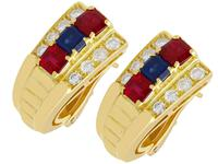 1.38ct Ruby & 0.65ct Sapphire, 0.64ct Diamond & 18ct Yellow Gold Earrings - Vintage c.1990 (2 of 9)