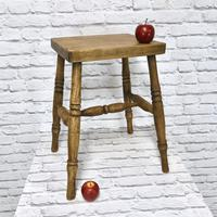 19th Century Kitchen Stool with Sycamore Seat (2 of 5)