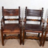4 Dining Chairs Ships Nautical Chairs Oak Leather 19th Century (5 of 10)