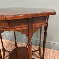 Striking Figured Rosewood Victorian Inlaid Antique Occasional Table (7 of 7)