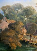 Large Stunning 19thc Arcadian Landscape Oil Painting in the 18th Century manner (8 of 13)