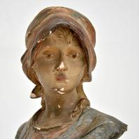 Antique Art Nouveau Plaster Bust by Hochock (3 of 10)