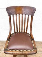 Early 20th Century Antique Oak Swivel Desk Chair (3 of 10)