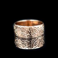Antique Fancy Engraved Floral Patterned 9ct 9K Gold Stacking Band Ring (5 of 9)