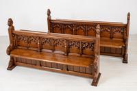 Pair of Victorian Carved Oak Pews (2 of 11)