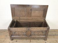 Antique 17th Century Carved Oak Coffer (3 of 10)