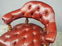 Victorian Walnut and Leather Office Chair (5 of 10)