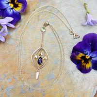 Antique 9ct Gold Peridot, Amethyst & Pearl Pendant, Suffragette Colours (3 of 9)