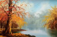 Immaculate Large Original Mid-20thc Vintage Autumn River Landscape Oil Painting (3 of 11)