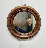 19th Century Small Round Mahogany Wall Mirror (2 of 4)