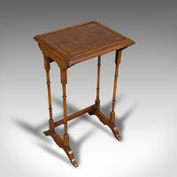 Antique Trio of Nest Tables, English, Walnut, Mahogany, Nesting, Side, Edwardian (8 of 12)