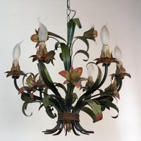 French Large 6 Arm Floral Toleware Chandelier Ceiling Light (6 of 8)