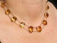 124.21ct Citrine & 9ct Rose Gold Riviere Necklace - Antique c.1890 (9 of 9)