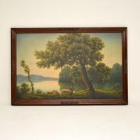 Large Antique Oil Painting in Mahogany Frame