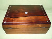 Unisex Inlaid Rosewood Jewellery Box + Tray. c1850 (7 of 13)