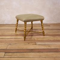 19th Century French Square Giltwood & Upholstered Stool Ottoman - Table (2 of 10)
