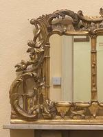 Late 19th Century Ornately Carved Giltwood 3-Section Overmantel Mirror (4 of 6)