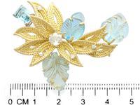 12.5ct Aquamarine & 0.62ct Diamond, 18ct Yellow Gold Brooch - Vintage c.1960 (7 of 9)