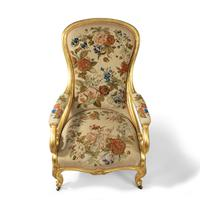 Pair of High Victorian Giltwood & Needlework Armchairs by Gillows (7 of 15)