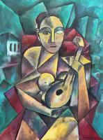 Original 20th Century Continental Abstract Cubism Style Portrait Oil Painting (2 of 11)