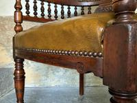 Exceptional 19thc Antique Mahogany Upholstered Library Captains Desk Armchair (2 of 12)