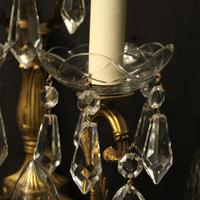 French Pair of Bronze & Crystal 5 Arm Antique Wall Lights (7 of 10)