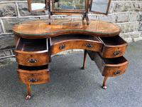 Antique Burr Walnut Kidney Shaped Dressing Table (4 of 12)