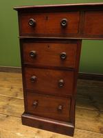 Antique Pedestal Partners Desk with Red Leather top and dummy drawers (12 of 13)