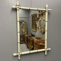 French Painted Faux Bamboo Mirror in Vert de Terre