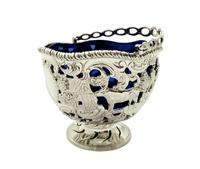 Antique Sterling Silver Basket with Scenes &  Blue Glass Liner 1901 (4 of 11)