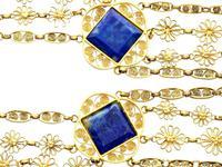 5.55ct Lapis Lazuli & 18ct Yellow Gold Necklace - Antique Victorian c.1870 (3 of 12)