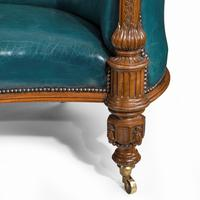 Victorian Carved Walnut Leathered Sofa (7 of 10)