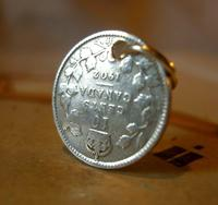 Antique Pocket Watch Chain Fob 1902 Silver Canadian 10 Cents Lucky Coin Fob (2 of 6)