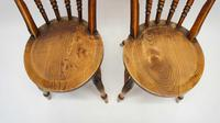 Pair of Good Quality Victorian Windsor Spindle Back Kitchen Chairs in Beech & Elm (5 of 10)