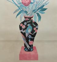 Large Original Japanese Inspired Floral Still Life Watercolour Painting (5 of 12)