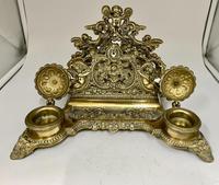 Antique Brass Desk Companion Inkwell Set c.1910 (7 of 8)