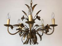Vintage French 5 Arm Gilt Wheatsheaf & Floral Toleware Chandelier (5 of 9)