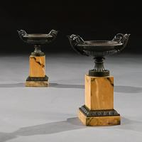 Fine Collection of Early 19th Century Grand Tour Bronze & Marble Empire Tazzas (6 of 9)