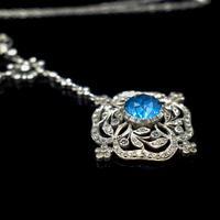 Antique Old Cut Blue Paste Drop Sterling Silver Pendant Necklace (9 of 12)