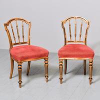Pair of Victorian Walnut & Ebonized Side Chairs