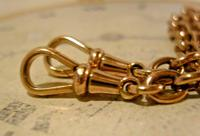 Victorian Pocket Watch Chain 1890s Antique 18ct Rose Rolled Gold Albert With T Bar (10 of 10)