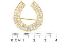2.36ct Diamond & 9ct Yellow Gold Horseshoe Brooch - Antique c.1890 (7 of 9)