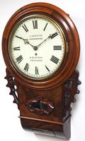 Rare Antique Drop Dial Wall Clock 8 Day Single Fusee Movement Signed John Griffith Carnarvon (5 of 5)
