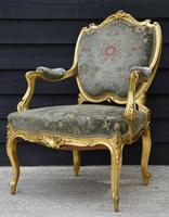 Beautiful Matched Pair of Fine Quality French Gilt Armchairs c.1900 (3 of 16)
